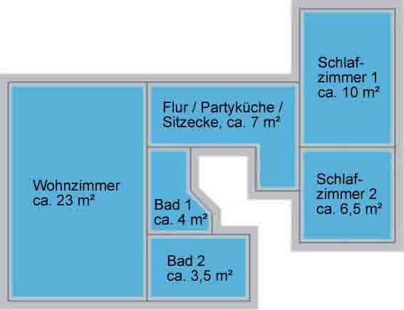 Ferienwohnug Düsseldorf – Grundriss, Apartment